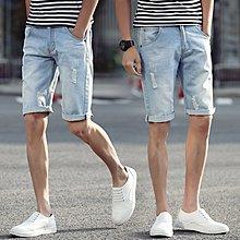 逆主流  大碼韓版刷白淺色牛仔短褲直筒男五分褲中褲牛仔破褲