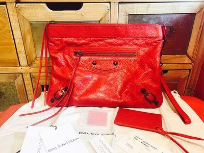 @ruby111大小姐㊣BALENCIAGA 巴黎世家 大型機車包 紅色 Party化妝包手拿包 零錢卡片信用卡