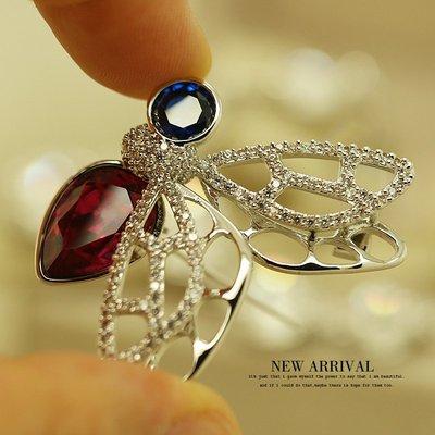 韓國Baby~XZ241合成鋯石立體蝴蝶水晶正韓胸針女高檔胸花飾品外套大衣別針