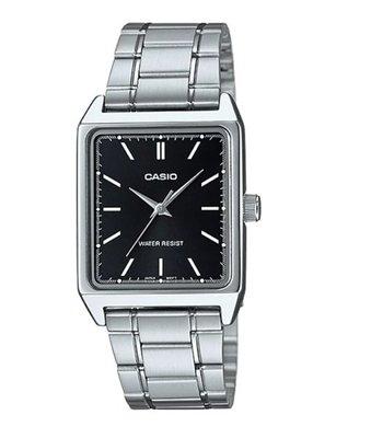【金台鐘錶】CASIO 卡西歐 簡潔大方的方形(女錶) (哈韓) 必備的基本錶款(黑面) LTP-V007D-1E