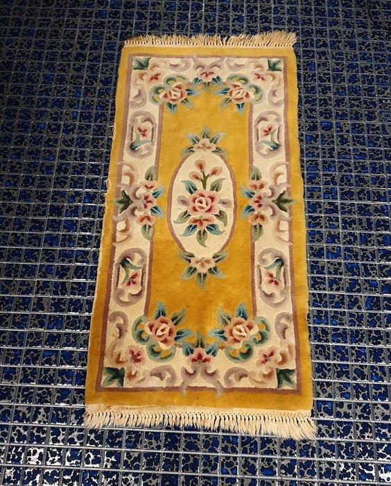 【卡卡頌 歐洲古董】🌹比利時老件 厚實手工 鵝黃 玫瑰 流蘇  地毯 古董地毯 F0117