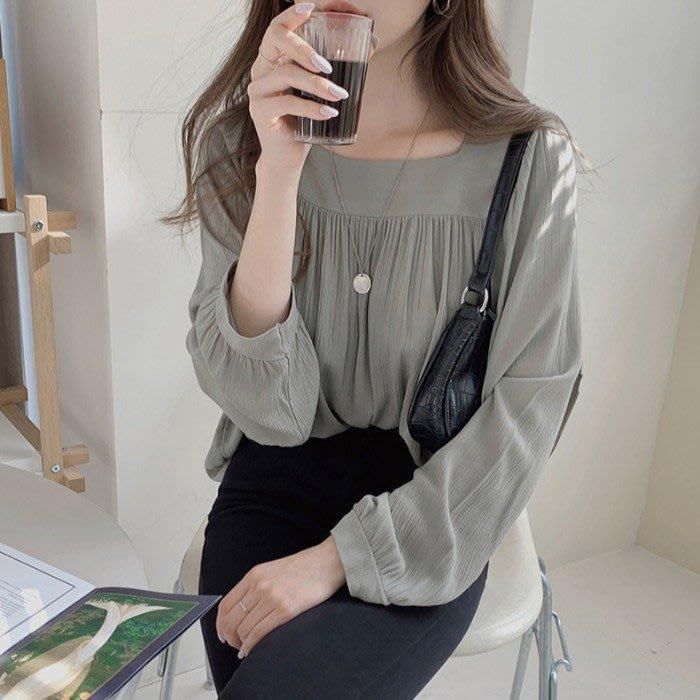 Maisobo 韓 秋冬 浪漫方領純色燈籠袖襯衫 2色 Q-605 預購