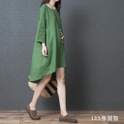 2019新款文藝范寬鬆大碼亞麻不規則裙子休閒長袖棉麻洋裝女