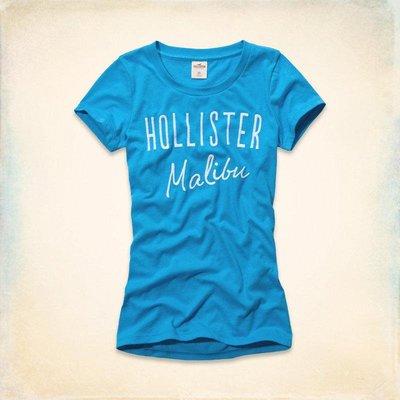 Maple麋鹿小舖 Hollister Co * HCO  藍色電繡字母短T * ( 現貨S/M號 )