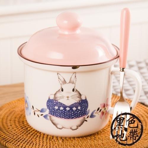 食堂打飯缸防燙陶瓷微波爐便當盒仿搪瓷泡面杯方便面碗帶蓋學生餐