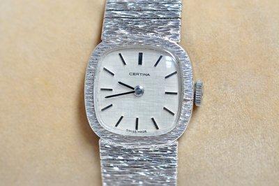 《寶萊精品》CERTINA 雪鐵納銀白方型手動女子錶