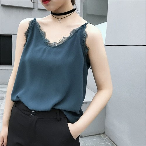 韓版寬鬆打底吊帶背心女性感V領蕾絲吊帶衫