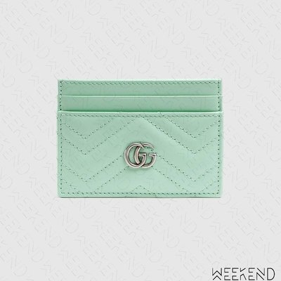 【WEEKEND】 GUCCI GG Marmont 皮革 卡夾 卡片夾 名片夾 淡綠色 443127