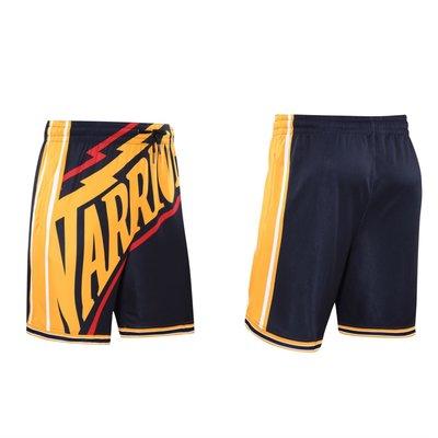 籃球褲 運動短褲 NBA 勇士隊 CURRY NIKE同款 復古 大LOGO 口袋 透氣 排汗 吸濕 健身 訓練