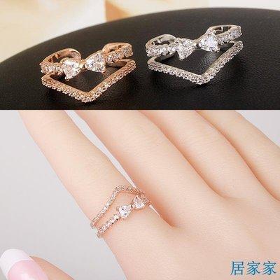 居家家 韓版氣質微鑲鋯石蝴蝶結開口戒指女時尚甜美食指指環個性裝飾飾品
