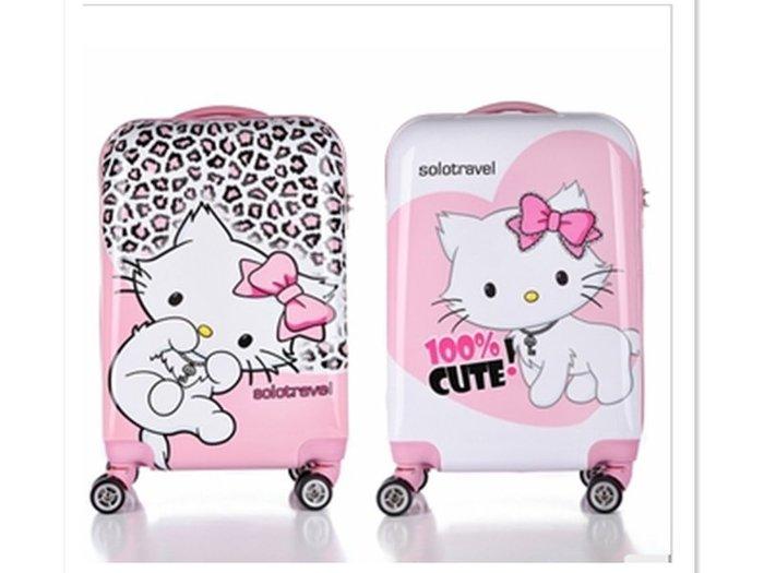 Kitty貓20寸兒童拉桿箱24寸時尚旅行箱 凱蒂貓PC可愛卡通行李箱子