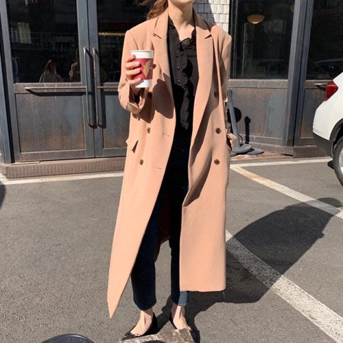長版大衣 韓系 寬鬆雙排釦西裝風衣外套 艾爾莎  【TAE7943】
