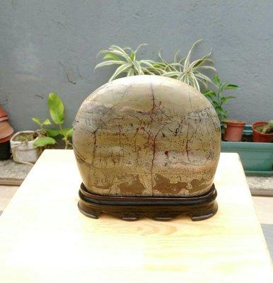 天然山水紋多彩草花年糕玉大屏風形擺件/實木底座,居家藝術擺件超好看,珍藏品便宜出清,重約2650公克,只有一件