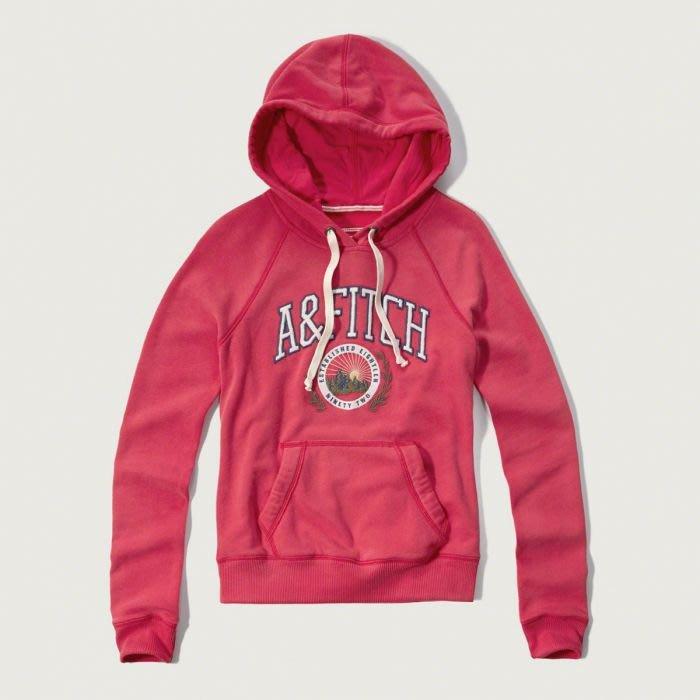 美國百分百【Abercrombie & Fitch】連帽 AF 外套 麋鹿 長袖 女款 上衣 L號 桃紅 H145