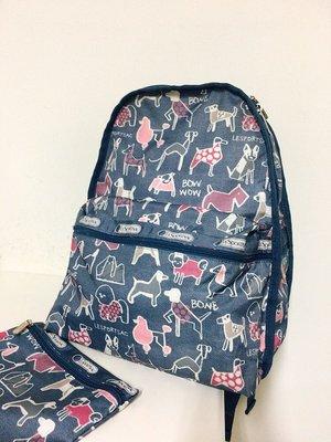 Lesportsac 保證台灣專櫃正品 寵物狗 狗狗 塗鴉 基本款 可放A4 後背包 書包 贈同花色化妝包