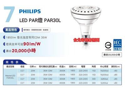 台北市長春路 買6顆免運費 飛利浦 20W LED PAR燈 PAR30L E27 220v 取代CDM 35w