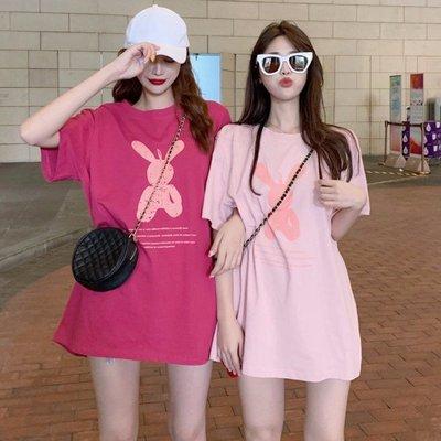 小香風 短袖T恤 時尚穿搭 韓版 chic寬松百搭趣味印花中長款可愛短袖T恤女洋氣
