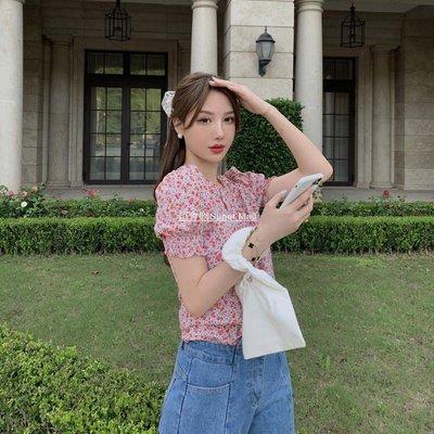 超會購Super Mall2020夏季正韓復古宮廷風浪漫優雅襯衣T恤V領單排扣燈籠袖碎花上衣