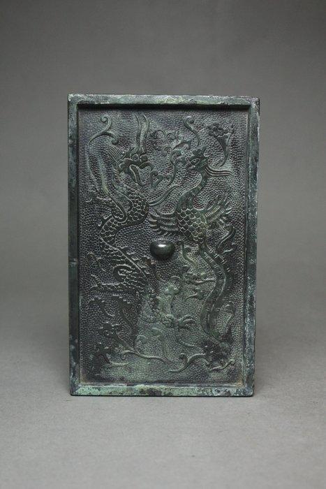 悅年堂 --- 銅 龍鳳紋方鏡 銅鏡