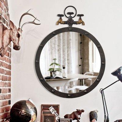 千禧禧居~店面裝飾品布置店鋪創意墻面工業風餐邊裝飾鏡子LOFT洗手間壁掛