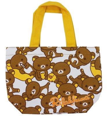 【卡漫迷】 拉拉熊 手提袋 滿版 ㊣版 懶懶熊 Rilakkuma 魔鬼氈 餐袋 便當袋 手提包 外出包 小物收納袋