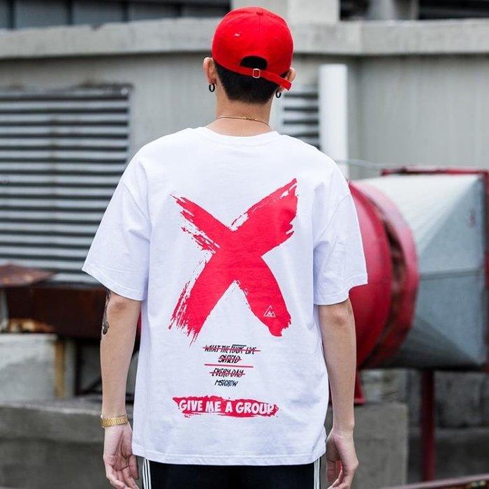 新款國落肩T恤男士寬鬆嘻哈短袖學生正韓棉上衣