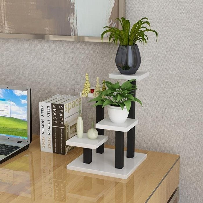 迷你小型花架辦公書桌面上多層功能