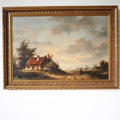 百寶軒 西洋收藏德國手繪老油畫森林小木屋人物裝飾畫木框原裝原裱 ZG3390