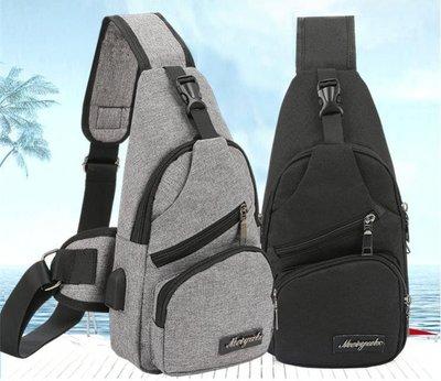 休閒騎行包USB充電運動帆布背包胸包時尚旅行單肩側背包挎包    全館免運