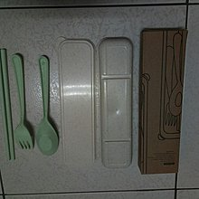 北歐風小麥桿環保餐具 三件組 北歐綠 湯匙 筷子 叉子 收納盒 外出便攜型餐具組 塑膠餐具 兒童餐具組 小學生餐具 櫻環
