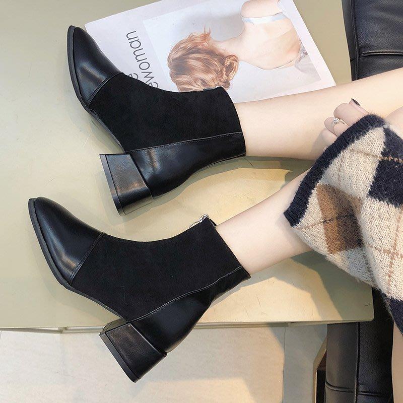 冬季保暖女靴 馬丁鞋 長靴機車靴 韓版百搭馬丁靴女秋冬英倫風粗跟短靴女加絨方頭中跟短筒靴子