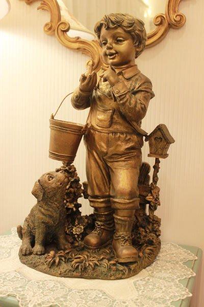 【家與收藏】特價稀有珍藏歐洲古典法國可愛精緻小孩童雕像擺飾(2)