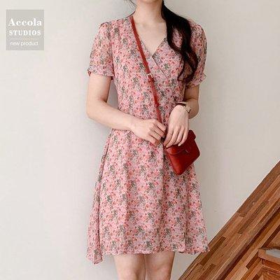 法式小個子少女小雛菊碎花雪紡收腰顯瘦連衣裙氣質夏天裙