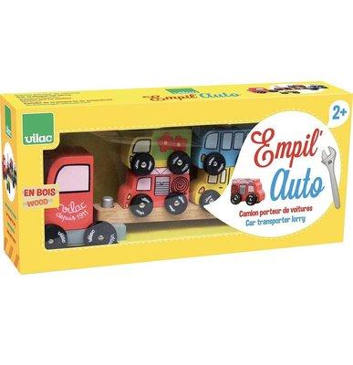 (預購)VILAC Truck and trailer wooden car stacking toy 木製汽車組