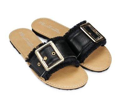 彎彎的手指【全新現貨】23號、24號黑色 台灣製富發牌手工鞋 時尚個性釦飾抽鬚