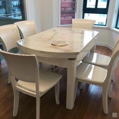 白色大理石餐桌折疊長方形飯桌伸縮圓形小戶型家用現代簡約圓餐桌 igo