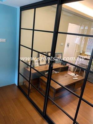 shintsai玻璃工程 鋁框隔間拉門 鋁框推拉門 廚房隔間門 玻璃拉門 懸吊式玻璃拉門 書房拉門
