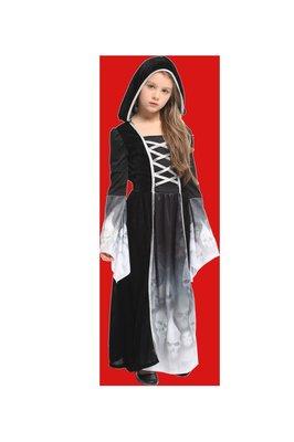 歡樂賣 / 萬聖節服裝/巫婆服裝/巫師服裝/帶帽巫師服裝/3D鬼袍/巫師袍/黑袍/魔幻骷髏公主