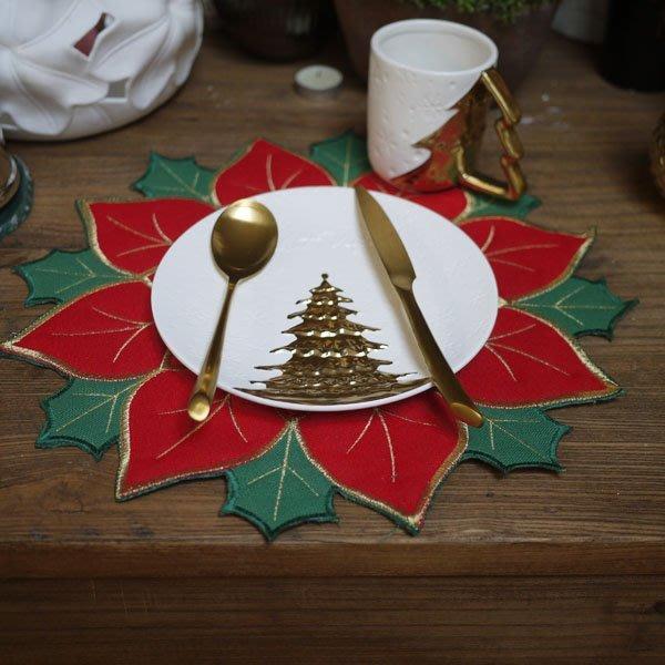 MAJ.POINT-餐墊 隔熱墊 廚房餐具 餐墊紙 出口外貿限量 聖誕紅綠葉 裝潢 道具 歐美 金線鄉村風 擺盤婚宴