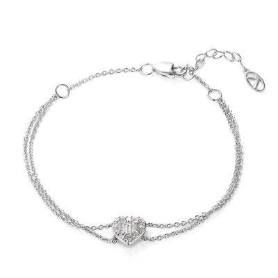輕珠寶訂製18K金鑽石愛心手環 心型手鍊 tiffany 風格