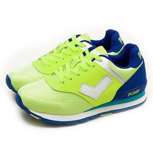 利卡夢鞋園–PONY 繽紛韓風復古慢跑鞋 SOLA--T 夜光世代系列 螢黃藍 51W1SO77YW--女