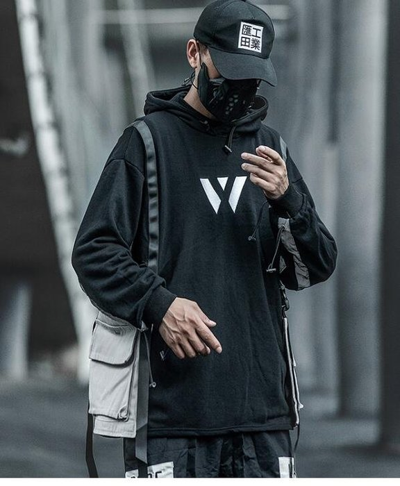 FINDSENSE X 男士暗黑系百搭連帽衛衣歐美高街潮牌嘻哈外套