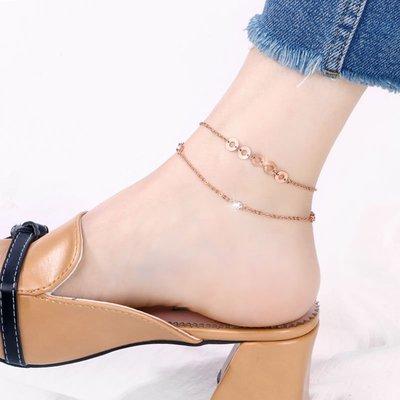 Lissom韓國代購~2019新款腳鍊女網紅小眾設計情侶閨蜜個性腳飾鈦鋼腳鍊子女款性感