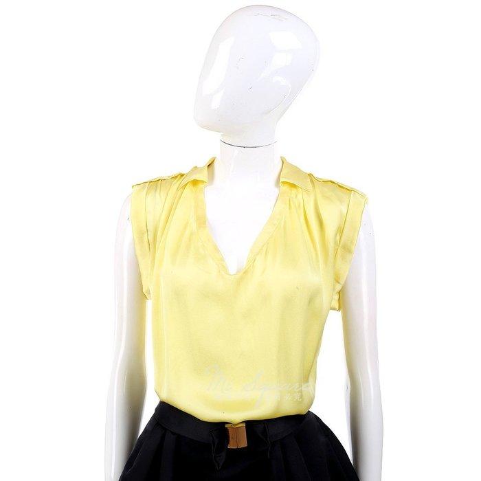 米蘭廣場 ALLUDE 黃色U領緞面短袖上衣 1320272-66
