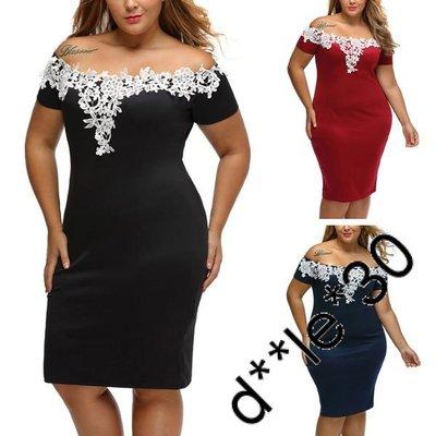 Vancy 黑/藍/紅 肥人 歐美 短袖有彈性 花邊露肩性感包臀 雙加大碼 連衣裙 連身裙 XL-3XL碼 x005