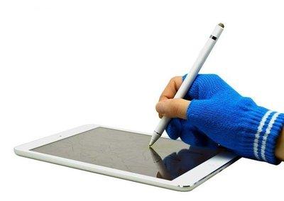 下殺~限時特價 志佳1.5mm筆尖USB充電主動式觸控筆手寫筆+防誤觸手套(白筆身+藍手套) 手機/平板/iPad