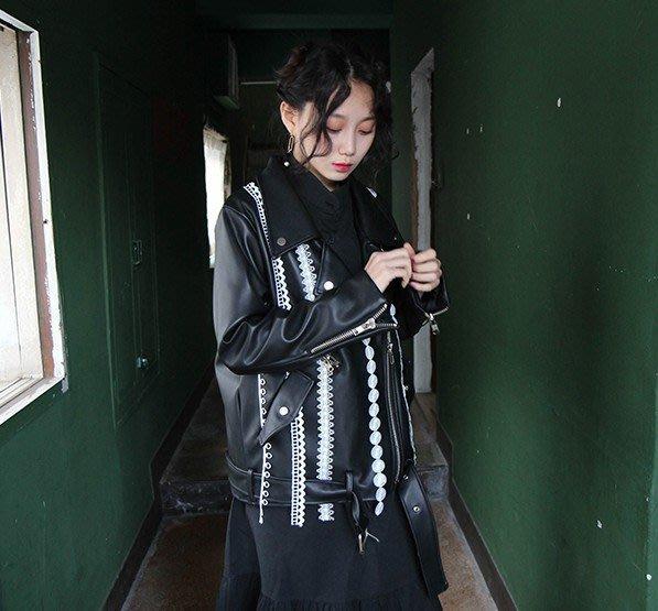 SeyeS  {韓國空運} 復古時尚搖滾浪漫白蕾絲設計感騎士皮衣外套