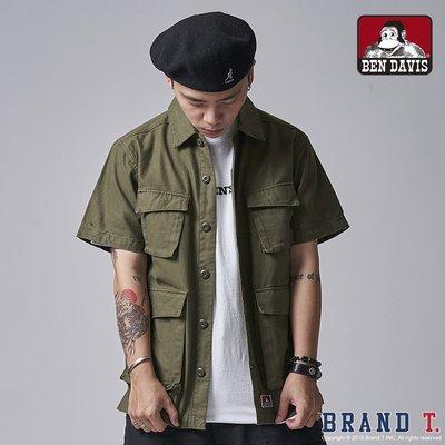 【Brand T】免運 BEN DAVIS FATIGUE SHIRT 軍綠*多口袋*工作*工裝*硬挺*短袖*襯衫*白標