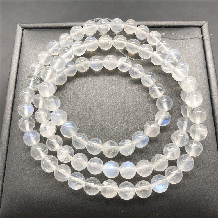 AOKA K金飾品天然奶油體藍月光石三圈手鍊 女款多圈佛珠 大顆粒三圈 光好體好
