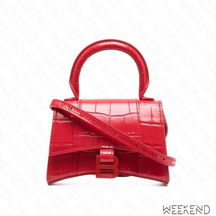 【WEEKEND】 BALENCIAGA Hourglass Mini 巴黎世家 迷你 鱷魚紋 肩背包 小廢包 紅色